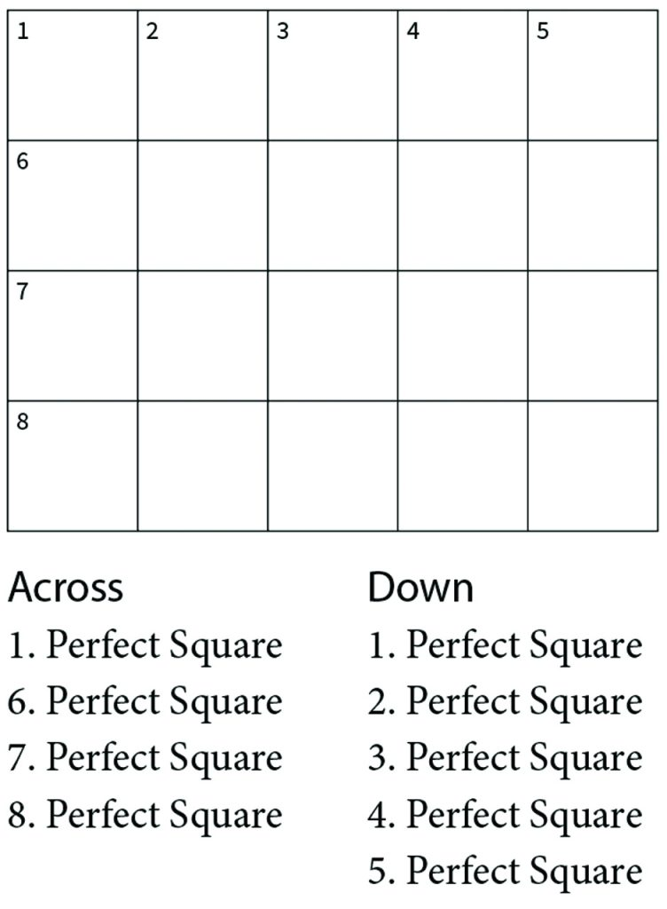 A Crossnumber Puzzle With Squares Contingencies Magazine